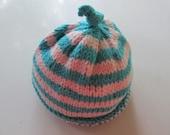 Hand Knit Baby Hat Newborn  Made in Maine Eco Friendly Vegan
