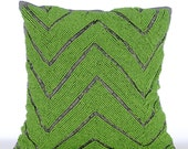 Green Decorative Pillows for Bed 18x18 Pillow Covers Embroidered Silk Pillow Covers - Machu Picchu