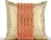 Decorative Throw Pillow Covers Accent Pillow Couch Toss Sofa Pillow 16x16 Metallic Gold Leather Pillow Cover Bead Embroidered Neon Ping Pong