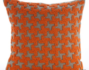 "Luxury Orange Throw Pillow Covers, 16""x16"" Silk Throw Pillows Cover, Square  Orange Beaded Lattice Trellis Pillows Cover - Orange Terracota"