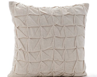 "Handmade  Ecru Pillows Cover, Knotted Pintucks Throw Pillows Cover Square  18""x18"" Cotton Linen Throw Pillows Cover - I Heart Linen"