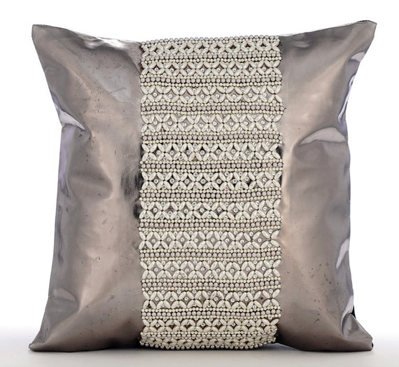 silver throw pillow covers 20x20 pearl embroidered leather. Black Bedroom Furniture Sets. Home Design Ideas