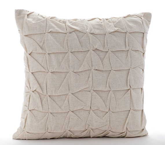 20x20 Throw Pillows Covers : Natural Beige Throw Pillow Covers 20x20 Embroidered Linen