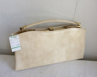 1960s Tan Beige Vinyl Vegan Handbag ANDE' Gold Clamshells New Old Stock with Tag and More