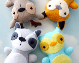 Woodland Animal Softies Sewing Pattern - Tutorial - PDF ePATTERN - Raccoon, Fox, Deer & Owl