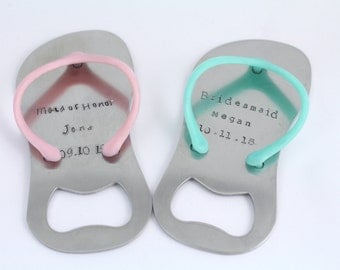 Flip Flop Sandal Bottle Opener Keychain - Personalized Bridesmaid Gift - Wedding Gift - Flip-Flop Opener - Beach Wedding - Bridal Party Gift