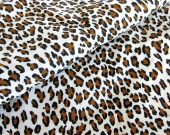 Vintage Leopard Print Fabric Cotton Yardage / Small Animal Print / Brown and Black Novelty Print