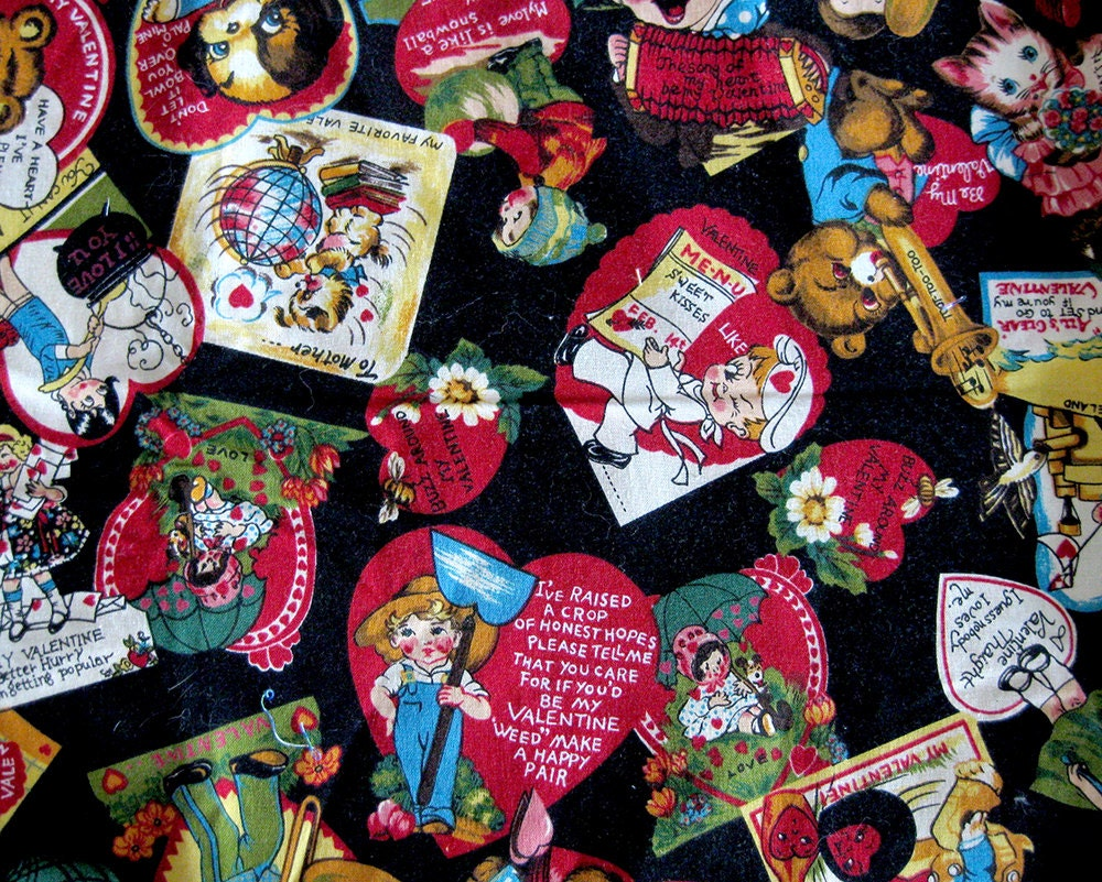 Vintage valentine novelty print fabric children cats bears for Kids novelty fabric