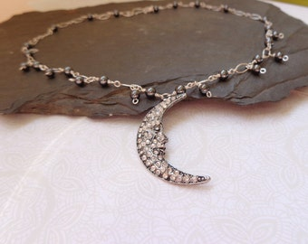 Crystal Moon Necklace with Hematite Beads, Moon Jewelry, Etheral Necklace