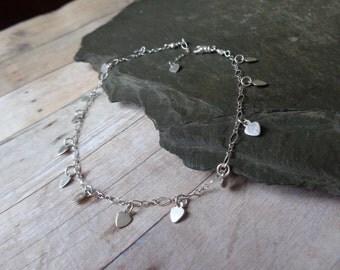 Heart Charm Anklet. Delicate Sterling Heart Ankle Bracelet