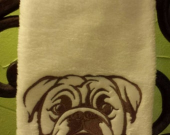 Bull dog Embroidered  decorative hand Towel