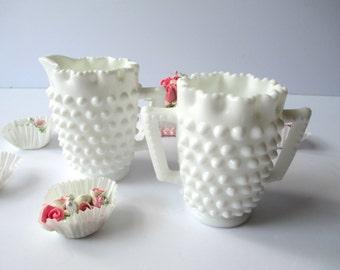 Vintage Fenton Milk Glass Hobnail Small Cream and Sugar Set