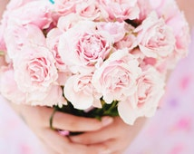 Portrait Photography, Girl Holding Pink Rose Bouquet Photo Pastel Nursery Girls Room Decor Love Friendship Pink Flowers Print Portrait