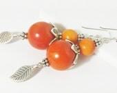 Tagua Nut Earring,Thai Karen Silver,Thai Silver Jewelry,Tagua Nut Jewelry,Karen Hill Tribe Leaf Charm,Hill Tribe Earring,Orange,Karen Bead