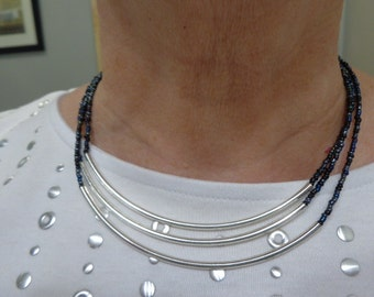 3-strand blue and silver necklace