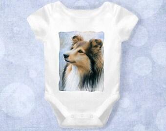 Baby Infant Creeper Onesie Bodysuit One Piece Dog 122 Sheltie Collie Sheepdog art L.Dumas