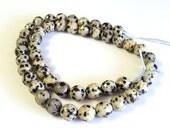 "Dalmation Jasper Faceted 6mm Gemstone Beads, Round, 16"" Strand, New, Jewelry Supplies"