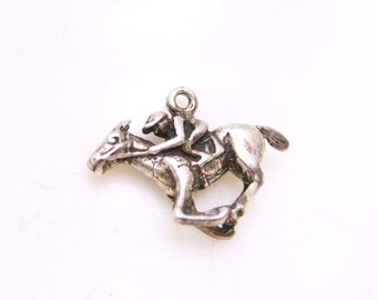 Vintage Sterling Horse and Jockey Charm Racing Jewelry C6710