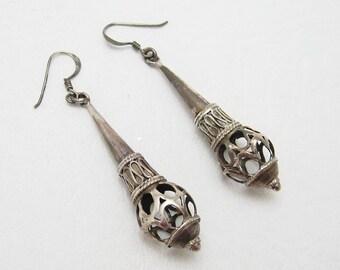 Long Sterling Earrings Vintage Jewelry E6734