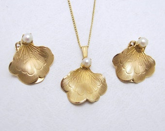 Genuine Pearl Necklace Earrings Set Gold Filled Fifties Set In Box S6765