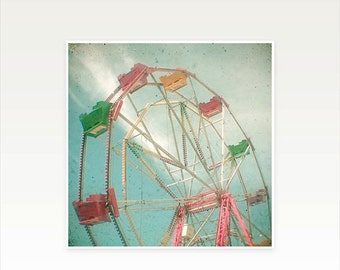 SALE 25% OFF Ferris Wheel Art, Nursery Art, Carnival Photography, Summer Decor, Pastel Baby Nursery, Gift for Woman, Colorful Art - Big Whee
