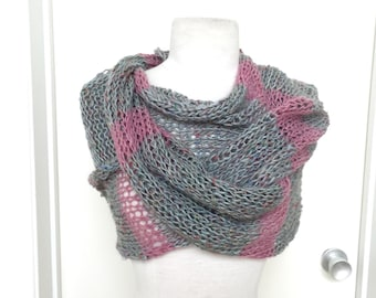 IN STOCK Knit Mermaid scarf shawl wrap blue grey rose mauve loose weave handloomed one of a kind