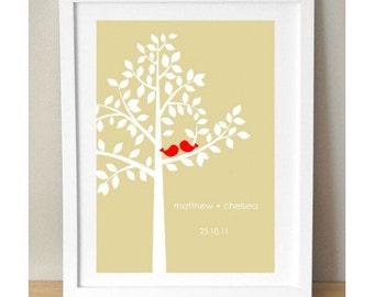 Personalized Love Print, Love Tree Print, Custom Love Birds Print, Custom Wedding Print