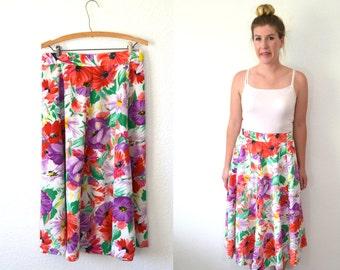 20 DOLLAR SUPER SALE! Vintage White Floral Skirt - Floral Midi Skirt - White Skirt - High Waisted Skirt