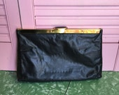 70s Etra Glove Leather Black Clutch reseved for Camilla