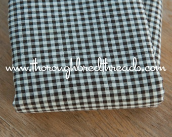 """Chocolate Brown Gingham- Vintage Fabric Doll Making Nursery Tiny Checks 1/8"""" 36 in wide"""