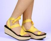MOKOBO Platform Slide Sandal by Mohop | Handmade Vegan Shoes with 5 Interchangeable Ribbons