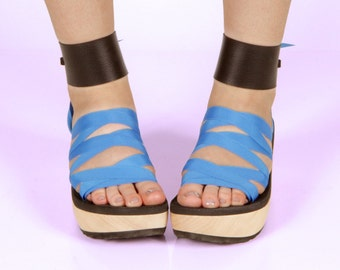 Black Vegan Leather Large Strap Accessory for Mohop Interchangeable Ribbon Sandals