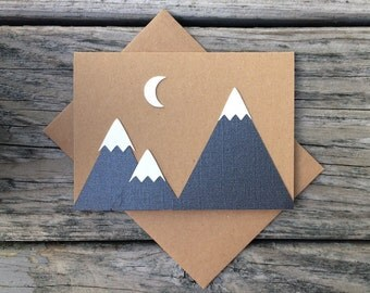 Three mountains with crescent moon blank greeting card with matching kraft envelope