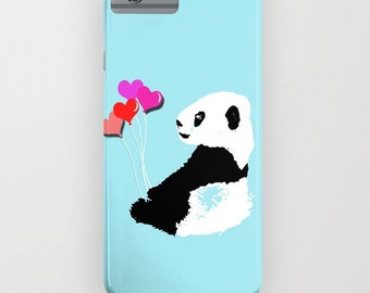 Panda with balloons on the Phone Case - panda on iPhone 5S, iPhone 5C, iPhone 6S, iPhone 6 Plus, samsung galaxy s6, Panda gifts