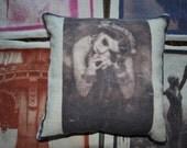 Belly Dancer Gypsy Ephemera Photo Linen Pillowcase Cover OOAK