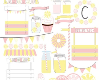 Pink Lemonade  Digital Clipart Elements Commercial use Instant Download