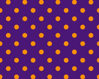 Purple with orange dots 1 yard knit jersey spandex