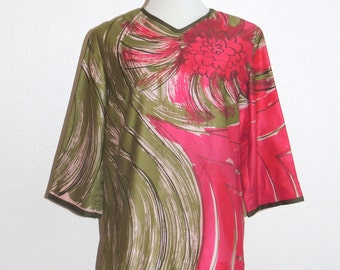 VERA Pink and Green Cotton Blouse tag size 18