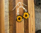 REAL Miniature Sunflower Earrings  - Tiny little yellow flowers, real flower, daisy, wedding, promise, sunshine small short, Christmas Xmas