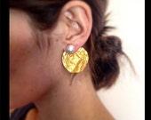 Gold and Silver Ear Jacket Earrings, Gold ear jacket earrings with silver studs, contemporary ear jacket earrings