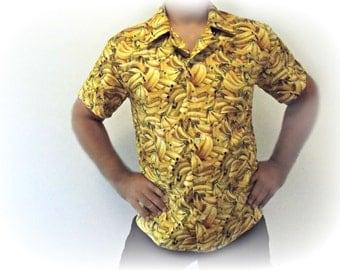 Men shirt short sleeves funny print BANANA print size L shirt for men