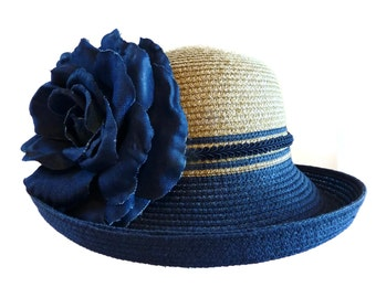 """Women's Straw Hat, Summer Hat, Tea Party Hat, Race Day Hat in Natural and Denim Blue - """"Carnaby Street Chic"""""""