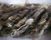 Handspun Corespun Shaggy Super Bulky Icelandic Shetland Wool Art Yarn in Natural Brown by KnoxFarmFiber for Weaving Felting Embellishment