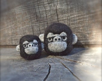 Needle Felted Mama and Baby Gorilla set Ready to Ship