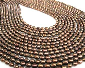 Bronze Pearls, Bronze Color Freshwater Pearls, Rice Shape, Bronze, SKU 4720