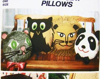 1970s Animal Pillow Pattern Stuffed Owl Pillow Cat Pillow Lion Pillow Panda Pillow UNCUT Cuddle Pillows Vintage Sewing Pattern