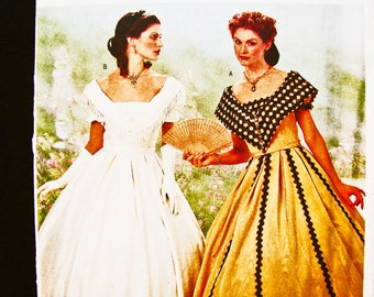Historical Civil War Dress Pattern Butterick Misses size 12 14 16 UNCUT Womens Civil War Renactment Ball Gown Sewing Pattern