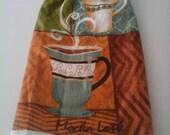 Hang Kitchen Towel,Mocha Latte Towel,  Double Hanging Crocheted Kitchen Towel, Hanging Kitchen Towel, Hanging Towel,  Everyday Hanging Towel