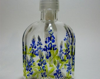 Soap dispenser Texas Bluebonnets Hand Painted