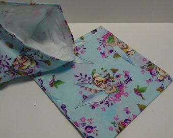 2pc  Reusable Sandwich and Snack Bag Disney Tinker Belle in Blue